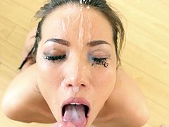 Masturbate as you watch this Asian brunette, with a nice ass wearing stockings, while she deepthroats a dude's pole enthusiastically.
