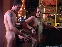 Blonde with big hot ass gets the best hardcore compilations from horny dudes backstage till she is given a facial cumshot.