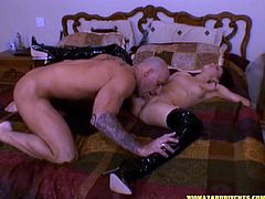 Check out this hardcore scene where the horny brunette Jenna Presley moans as she's fucked silly by a guy with a thick cock.
