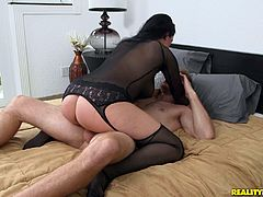 A vivacious cougar with long dark hair, big tits and a shaved pussy enjoys a mind-blowing doggy style fuck in her office.