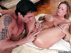 Becca Blossoms with huge hooters and bald snatch and hard dicked dude Alan Stafford do lewd things