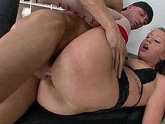 Take a look at this hardcore scene where the busty blonde Lizzy London ends up with her tits covered by semen after sucking and fucking a guy's thick dick.