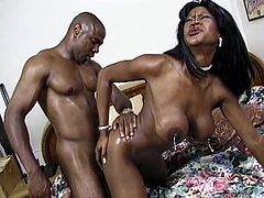 What are you waiting for? Watch this ebony cougar, with big knockers and a nice ass, while she gets drilled hard and moans like a wild animal.