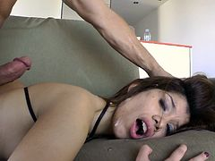 Entertain yourself by watching this brunette chick, with a nice ass wearing high heels, while she gets plowed hard in different positions.