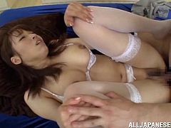 The beautiful Asian babe Meisa Chibana wears some sexy lingerie as she gets her pussy toyed and ends up riding the guy's hard cock.