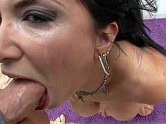 Luxurious brunette enchantress gets her tight asshole licked and demonstrates her big appetizing boobs to the dude. Then she sucks his massive pecker like a vacuum cleaner.