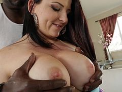 Lexington Steele is having a great time with curvy brunette Casey Cumz. The black stud massages Casey's big natural jugs, then drives his BBC in her snatch and pounds it in the missionary and other poses.