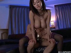 Take a look at this Japanese babe's big natural tits in this hardcore scene where she's fucked silly by this guy after she blows him.