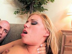 This lustful blondie is one hot whore who loves to fuck. Horny dude bangs her tight twat in sideways position. Then she rides his rock hard cock like a fucking cowgirl. Damn, this chick is unstoppable!