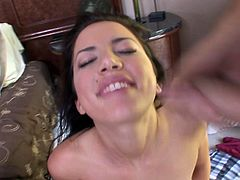 Brunette babe Micah Moore favours a lucky dude with a hot blowjob. After that they have sex in the cowgirl and other positions.