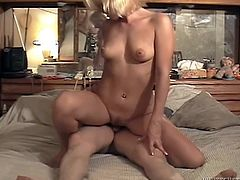 Voracious light-haired strumpet provides man with hot blowjob and gets her trench hammered mish. Thereafter she jumps on dick in a cowgirl pose and gets doggyfucked.