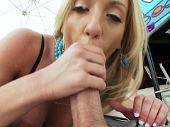 Take a look at Amy Brooke's massive ass in this hardcore scene where this sexy blonde deep throats a big cock before being fucked up her ass.