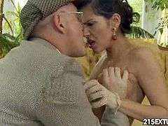 Samia Duarte has some sort of passion for this old man. She kisses him nicely, but he pushes her head all over his cock and drills her ass hole quite hard.