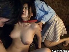 Entertain yourself by watching this Asian brunette, with natural breasts and a hairy pussy, while she goes hardcore with a dirty couple.
