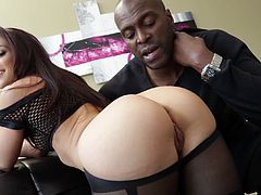 Share this with your friends! A long haired brunette, with a nice ass wearing nylon pantyhose, goes hardcore with a dark meat stick.