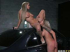 A pretty blonde lesbian with long hair, big tits and a sexy tattooed body enjoys getting her tight pussy and asshole fingered.