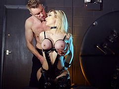 Have a good time watching this blonde pornstar, with huge love pillows wearing leather lingerie, while she gets drilled hard ans shares a wicked fetish.