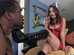 Watch this hardcore scene where this slutty babe ends up covered by semen after being fucked by a big black cock.