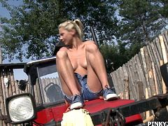 Who loves Pinky June? We all do! Today the smiling, happy young girl is out at a farm, fantasizing about being a farmer's daughter. She gets her clothes off and sits on the grass by a tractor, legs spread wide, rubbing her tight pussy. Next it's time for her vibrator, sucking it before inserting.