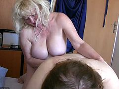 Chubby girl with big tits enjoying with granny