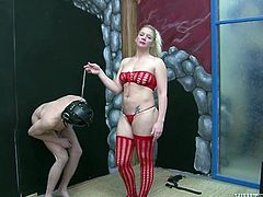 Chubby blond haired MILF plays some dirty sex games with her kinky guy