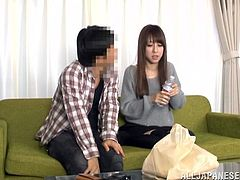 Long-haired Japanese milf is playing dirty games with a stranger indoors. The guy talks the slut into sucking his boner, then drills her pussy in the missionary pose.
