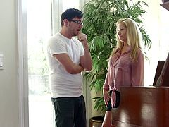 Dane's cock is one of the things that Patricia is craving for a while. When he comes in visit this blonde whore doesn't miss the opportunity of tasting his cock. She gets on her knees, takes his pants off and sucks him really deep. She takes her pink blouse off and shows him her big white boobs. Will he turn back the favour?