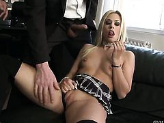 Ian Scott finds her mouth filled with David Perrys sturdy rod before she gets her fudge packed