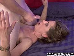 This sexy amateur babe takes a hard doggystyle fuck up her filthy pussy and ends up getting her mouth filled with cum that she swallows.