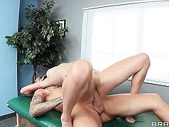 Holly Michaels with giant boobs gets dicked by Clover the way she loves it