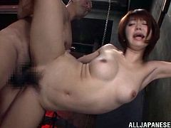 Share this with your friends! An Asian babe, with natural boobs and a hairy pussy, while she gets badly screwed in different positions.
