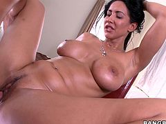 Are you fond of bitches who would do anything to get a creampie? Meet the brunette milf with a goddess name who has got an incredible body, big lovely tits and a tight pussy. The busty slut seems very flexible and feels at ease spreading widely her legs. Click to watch her pussy filled with cum!