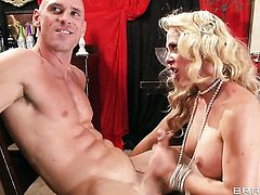 Cherie Deville with massive knockers gets turned on then slammed by Johnny Sinss sturdy love wand