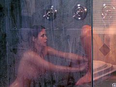 Horny lesbians Brett Rossi and Emily Addison get naughty in the shower