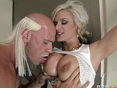 Take a look at this hardcore scene where the busty blonde Kate Frost shows off her big tits before sucking on a big cock before being drilled.