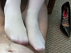 asian white nylon stockings footjob interruption