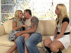 Lee Stone is having a great time with blonde cuties Alyssa Branch and Grace Evangeline. Alyssa and Grace suck Lee's boner remarcably well and seem to be unable to stop.