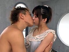 Horny Japanese milf Rino Nanse makes out with a guy and gives him a handjob. After that they fuck in the standing and the missionary positions.