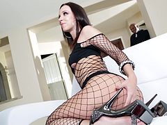 Horny doll in high heels and black fishnet swallows easily black dicks before being feasted hardcore by the dudes in a interracial sex