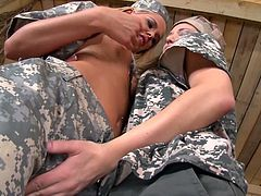 Two sex appeal military babes suck each others hard and perky nipples