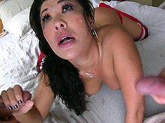 Amazing lady with natural tits in red socks gets the best deepthroat pounding till the he cums in her mouth in a threesome sex