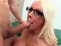 Pretty Blonde Cougar Enjoying A Hardcore Missionary Style Fuck In A Locker Room