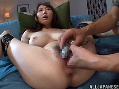 Hot Japanese tart Azumi Kinoshit spreads her legs wide apart and lets a man play with her snatch. After that they bang in the cowgirl pose and doggy style.