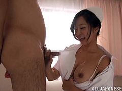 This is an Asian couple in the hospital banging hardcore. This nasty nurse treats the cock for a blowjob while she was served with a hot cum on her tits.