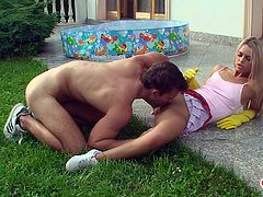 How can one not notice a blonde gardener with a short skirt? Her neighbor can't miss the occasion to know her better, in the biblical sense. Sabrina welcomes him with warmth, making friends with the guy's cock, which she seems to enjoy sucking. Curious to see under her skirt? Click to watch her pussy eaten!