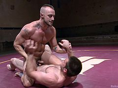 A wrestling match is not all about muscles, is about skills and here at Naked Kombat is about cock too! Have a look at these two wrestlers, who do you think it will be the winner? Well, we can't say for sure but as it seems, the one with the bigger dick clearly has an advantage!
