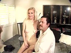 The sexy blonde Ivory Blaze gets a nasty facial after getting her delicious little ass rammed by a big black cock while her cuckold husband watches.