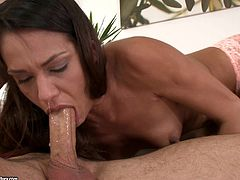 What are you waiting for? Watch this brunette pornstar, with small breasts wearing panties, while she goes really hardcore and moans like a bitch.