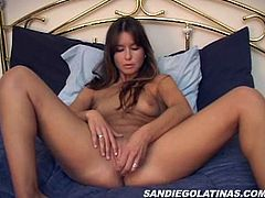 A pretty Latina with long dark hair, big natural tits and a hot body enjoys playing with her shaved pussy in her bedroom.