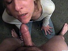 Marvelous cougar in white top and blue jeans gets a deepthroat feasting till the dude cums in her mouth and she swallows